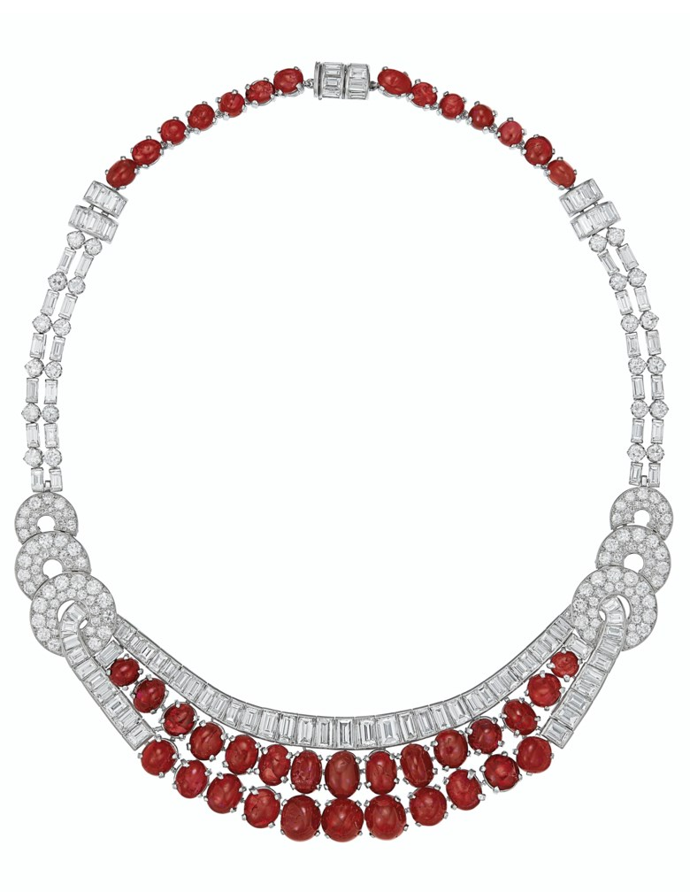 Art Deco ruby and diamond necklace. Oval and circular-shaped cabochon rubies, baguette and old-cut diamonds, platinum, circa 1930. Sold for $60,000 on 11 December 2019 at Christie's in New York