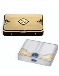 ART DECO ENAMEL, DIAMOND AND GOLD VANITY CASE, CARTIER AND ART DECO SAPPHIRE AND SILVER CASE, BLACK STARR & FROST