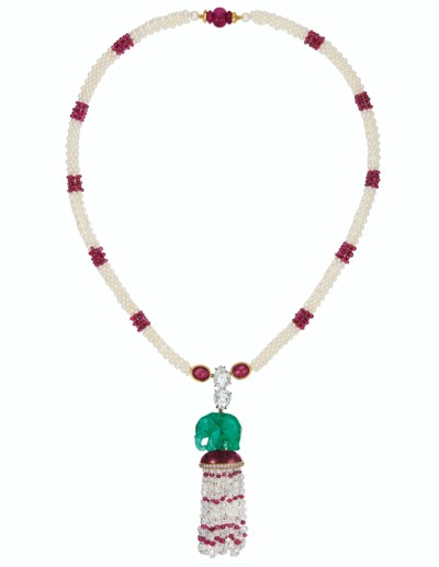 CARVED EMERALD ELEPHANT, RUBY,