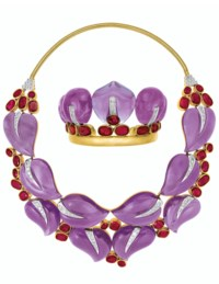 SET OF AMETHYST, RUBY AND DIAMOND 'LEAVES' JEWELRY, SUZANNE BELPERRON