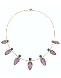 PINK TOPAZ, EMERALD AND DIAMOND NECKLACE, TAFFIN