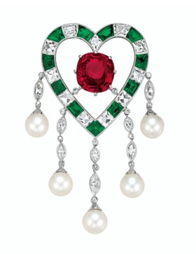 'THE DUPONT RUBY'  AN EXQUISITE RUBY, EMERALD, DIAMOND AND N