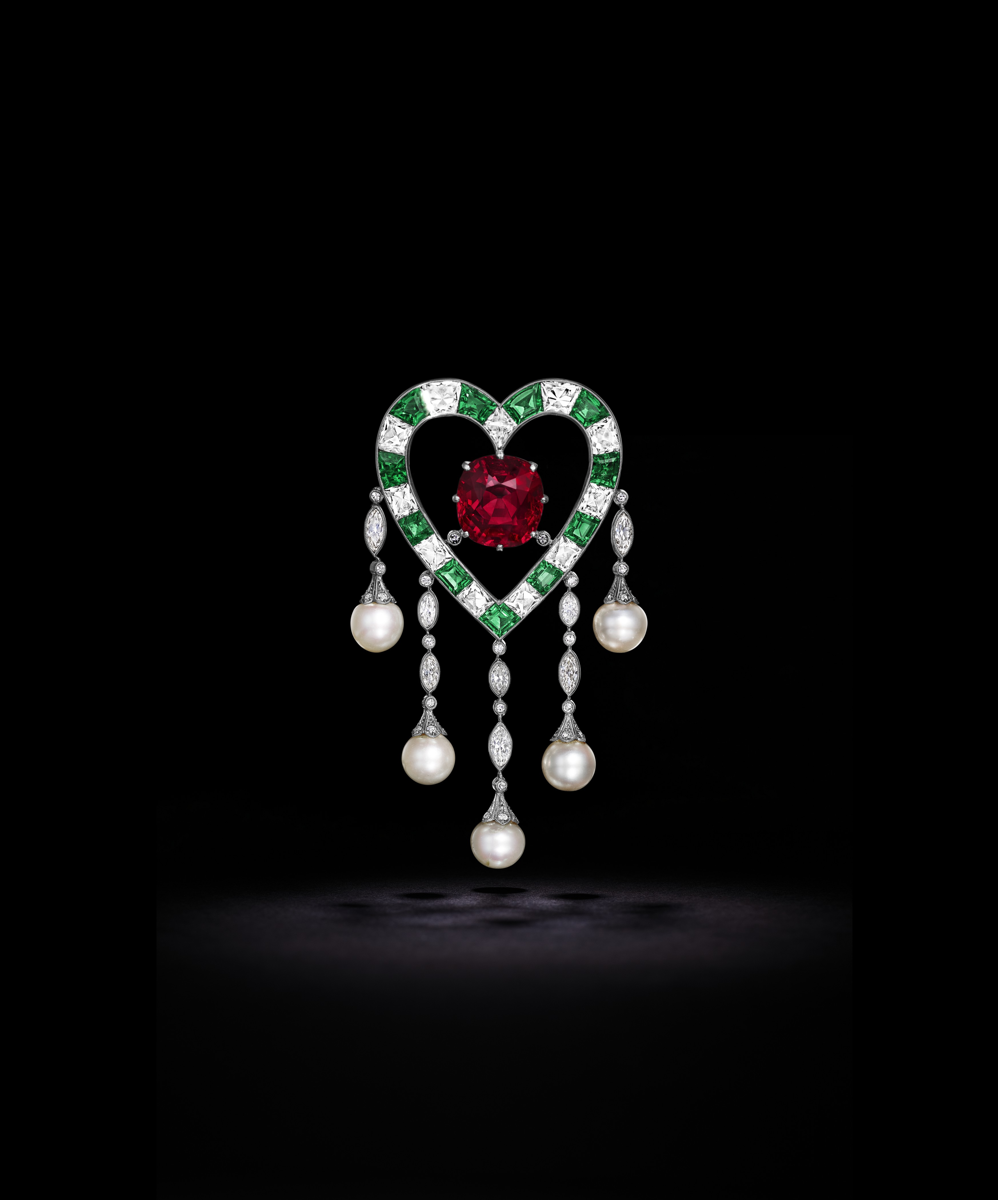 'THE DUPONT RUBY' AN EXQUISITE RUBY, EMERALD, DIAMOND AND NATURAL PEARL BROOCH