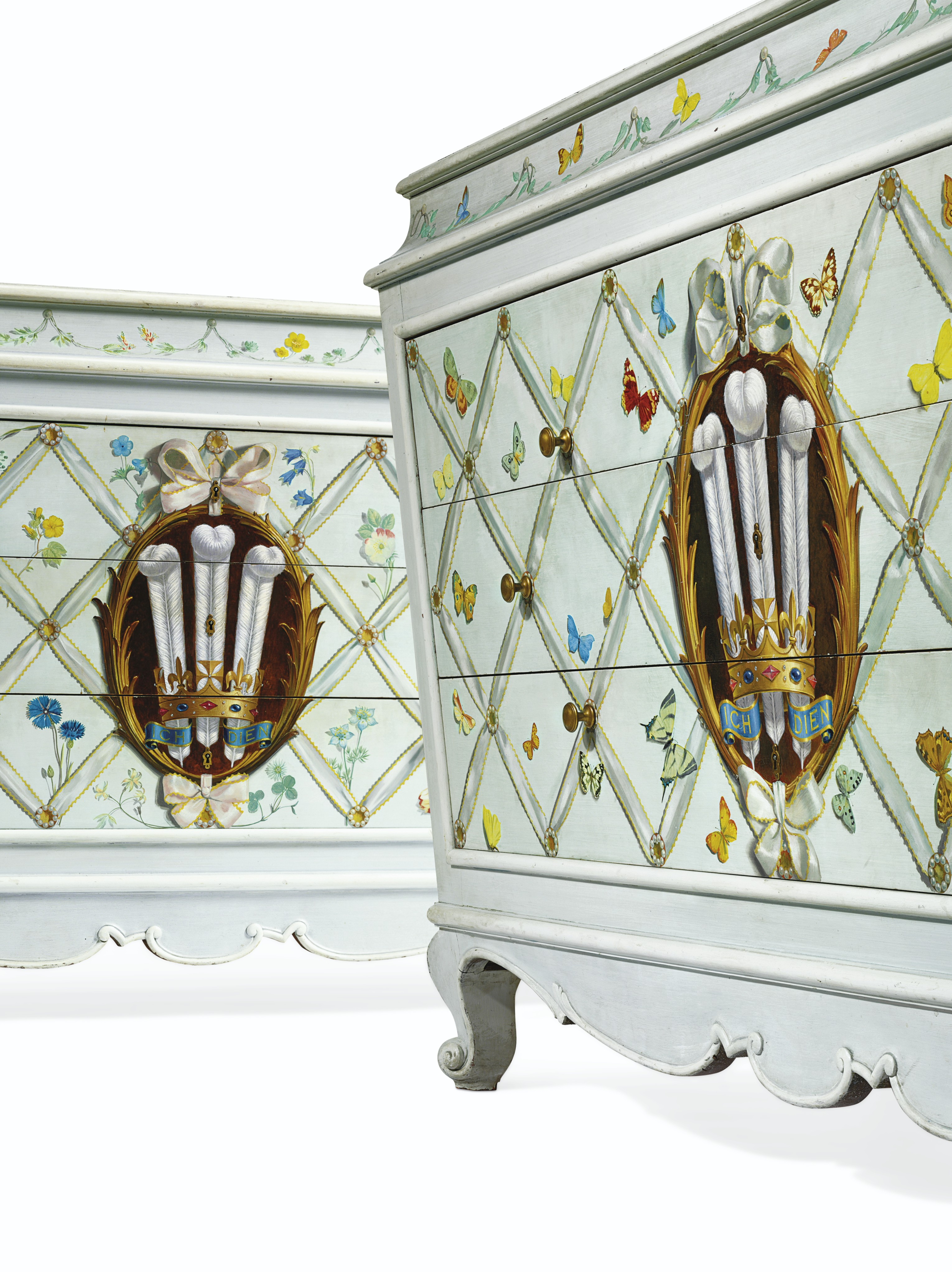 A PAIR OF FRENCH POLYCHROME-PAINTED COMMODES