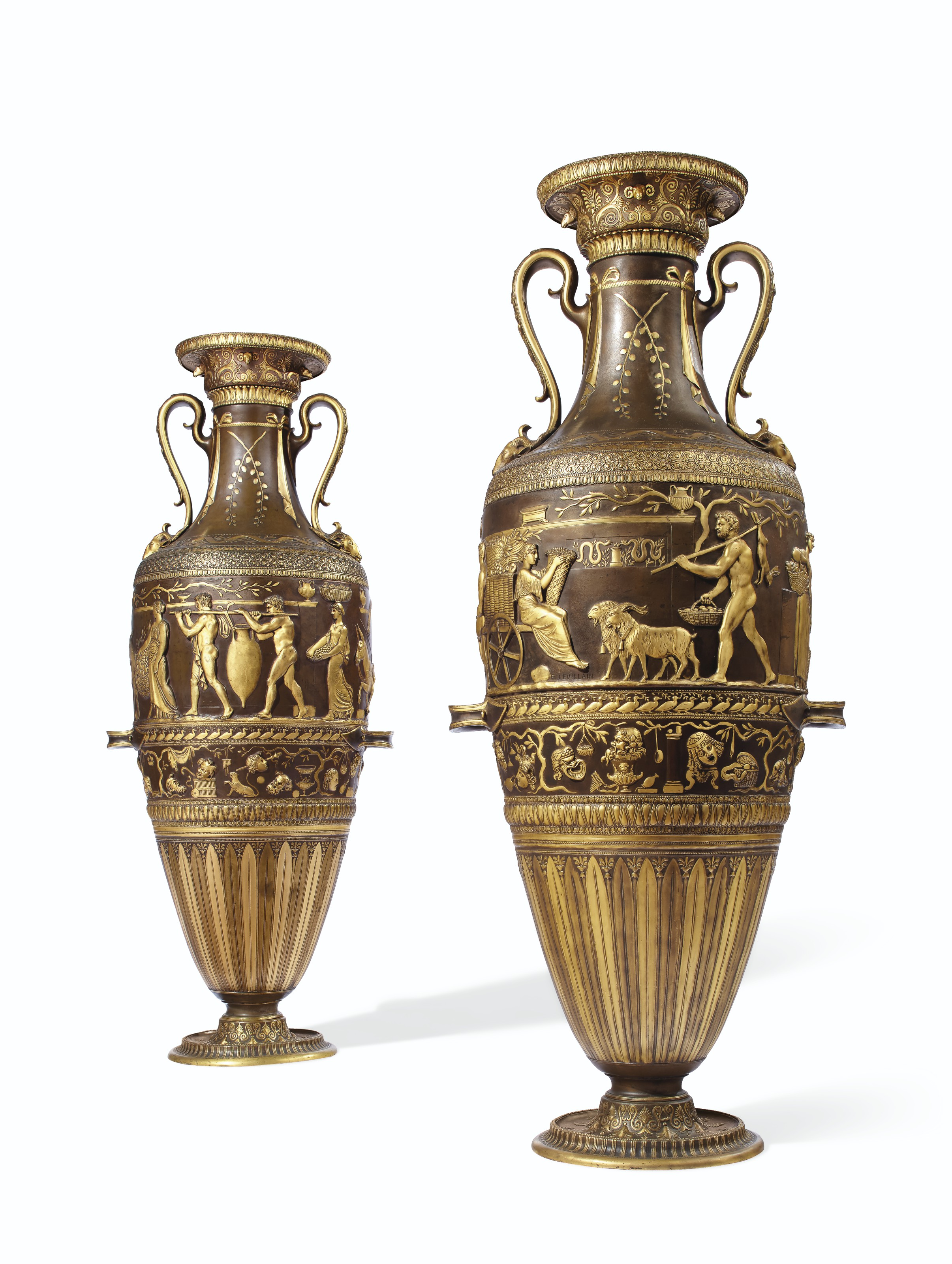 A PAIR OF FRENCH 'NEO-GREC' GILT AND PATINATED-BRONZE VASES