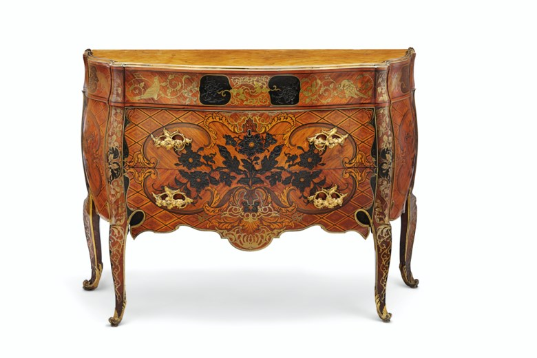 A royal Spanish brass-inlaid and ormolu-mounted tulipwood, ebony, padouk, kingwood and marquetry commode, attributed to José Canops, after designs by Matteo Gasparini, the bronzes possibly by Juan Bautista Ferroni, circa 1765-75. 37 in (94  cm) high, 52  in (132  cm) wide, 22¼  in (56.5  cm) deep. Sold for $447,000 on 29 October 2019 at Christie's in New York