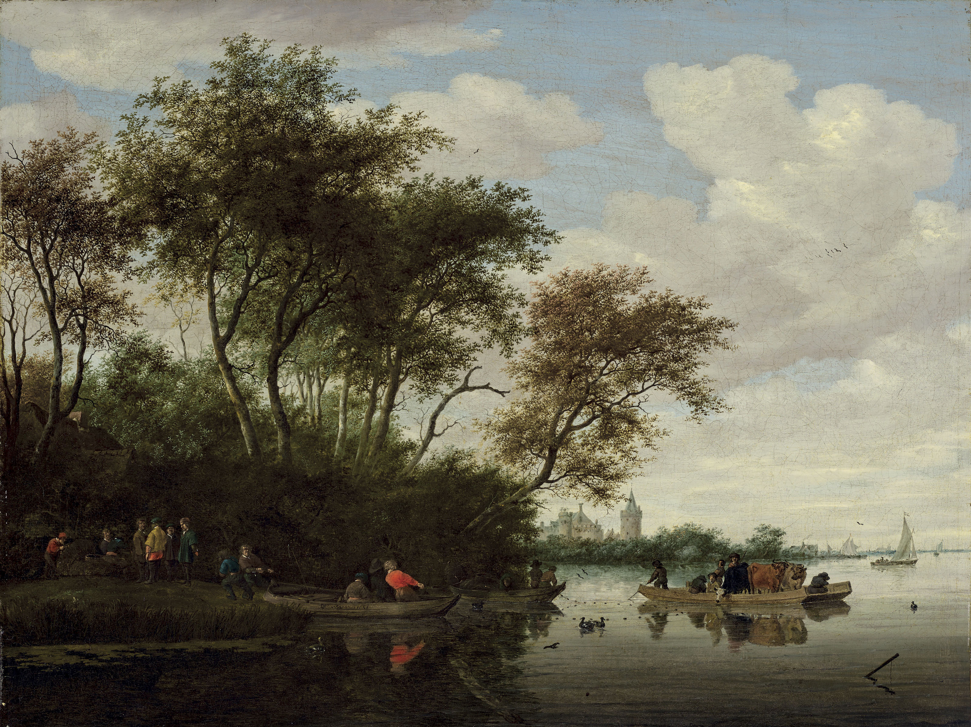 A river landscape with a ferry and Kronenburg Castle in the background ( Кристис)