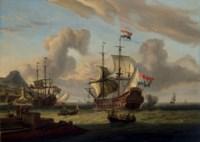 Dutch men-o'-war off the Mediterranean coast