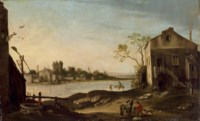 Travelers and other figures in a town beside a river