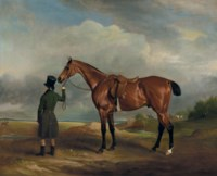 Mr. H.H.H. Hungerford's second horse Clinker, held by his groom with huntsman and hounds in the distance
