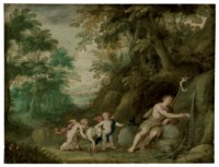 Saint John the Baptist with two putti and a lamb in a rocky landscape