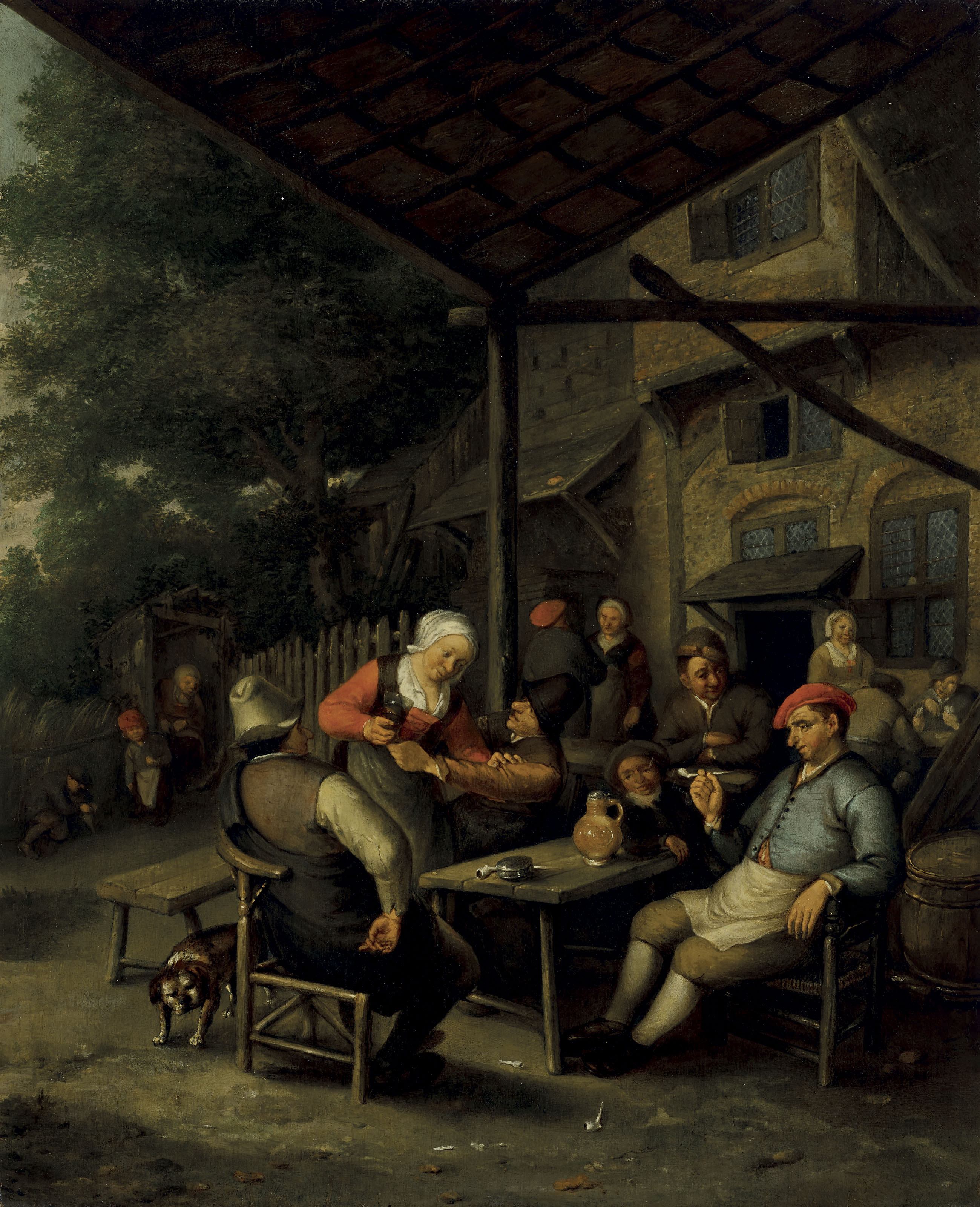 A group of figures drinking and smoking before an inn