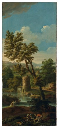 Italianate river landscape with figures breaking up a tree in the foreground, fishermen and mountains in the distance