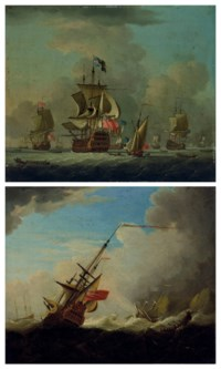 The arrival of the fleet; and Warships caught in a gale
