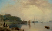 An estuary in Devon, possibly Torquay, with figures and small boats in the foreground and a man-of-war at anchor in the background
