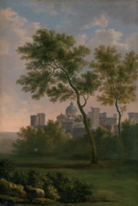 An Italianate landscape with a view of a fortified town