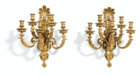 A PAIR OF AMERICAN ORMOLU FIVE-LIGHT WALL LIGHTS