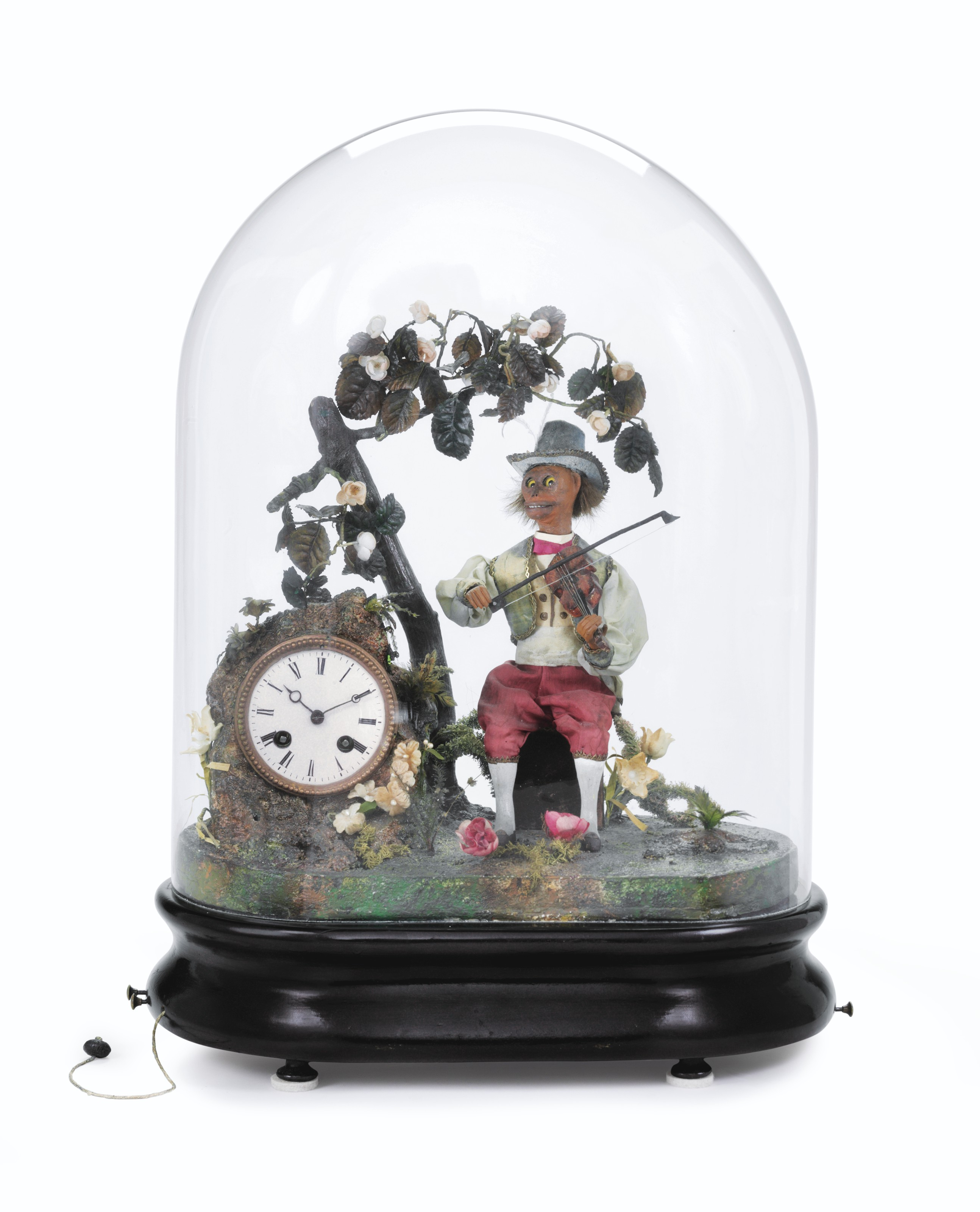 A Very Rare Musical Automaton Clock with Two Tunes Depicting a Monkey Playing a Violin, Hour and Half-Hour Striking, Two-Week Going