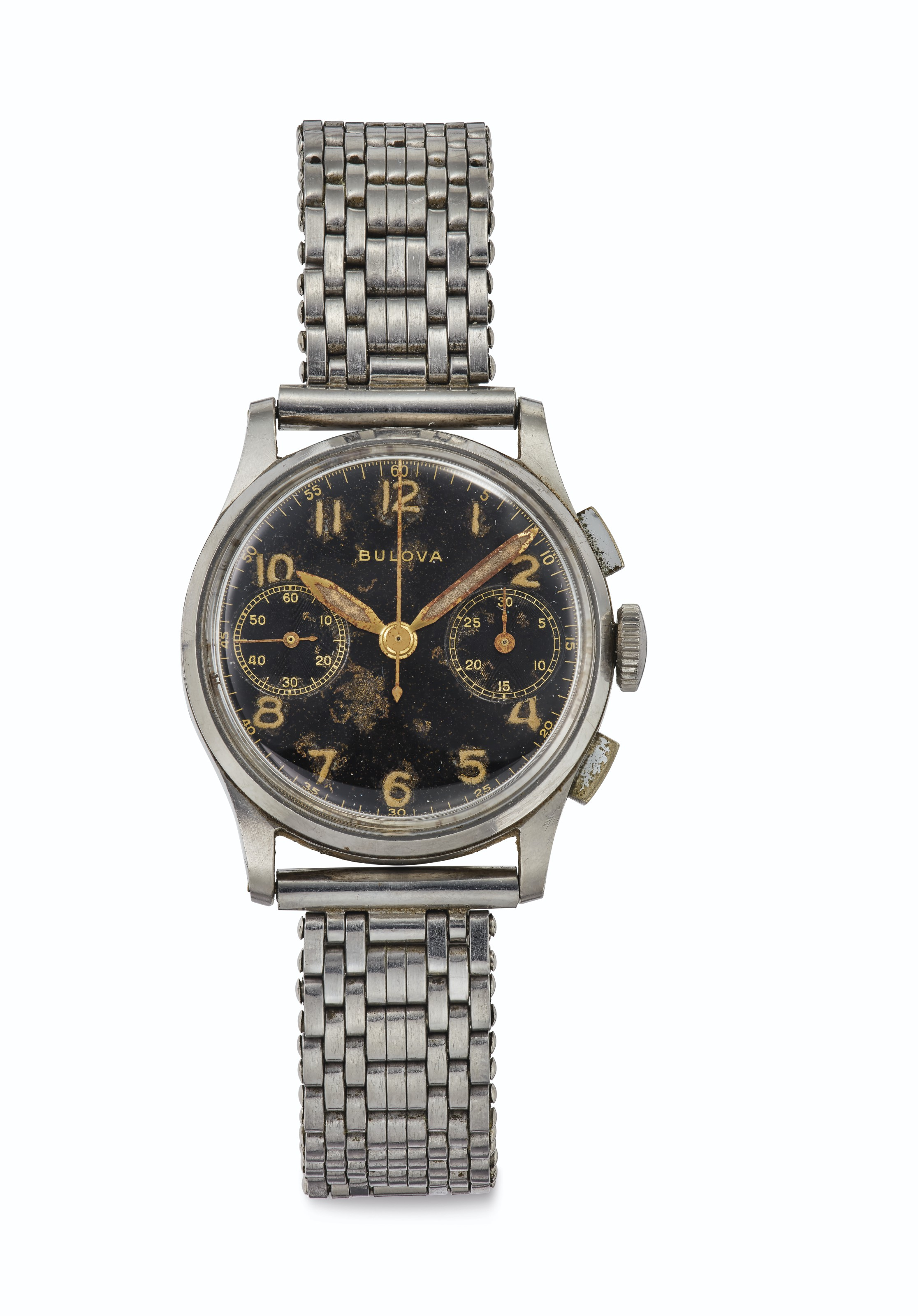 Bulova. A Fine Stainless Steel Chronograph Wristwatch with Black Dial, Formerly Belonging to American Major League Baseball Legend Joe DiMaggio