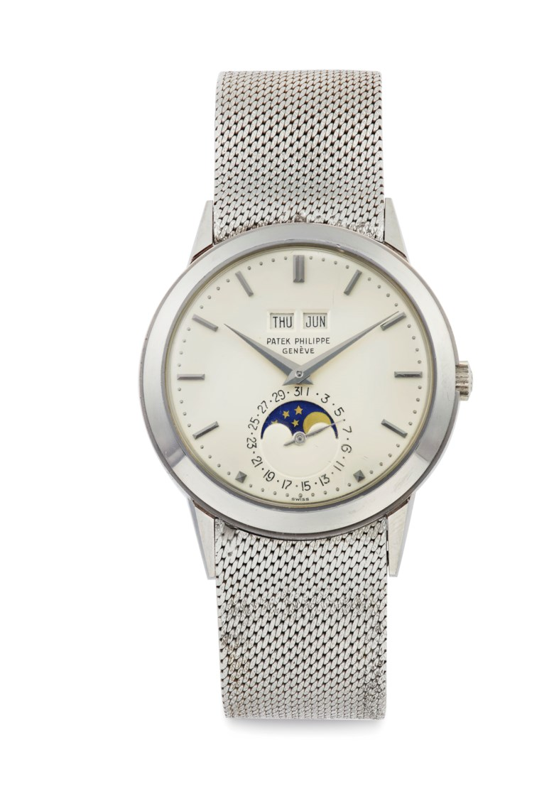 Patek Philippe. A very fine and rare 18k white gold automatic perpetual calendar wristwatch with moon phases and bracelet. Signed Patek Philippe, Genève, ref. 3448, movement no. 1'119'114, case no. 322'496, manufactured in 1969. Case 18k white gold, snap-on back, 37mm diameter. Sold for $1,155,000 on 6 June 2019 at Christie's in New York