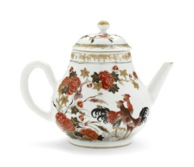 AN IRON-RED, SEPIA, AND GILT TEA POT AND COVER