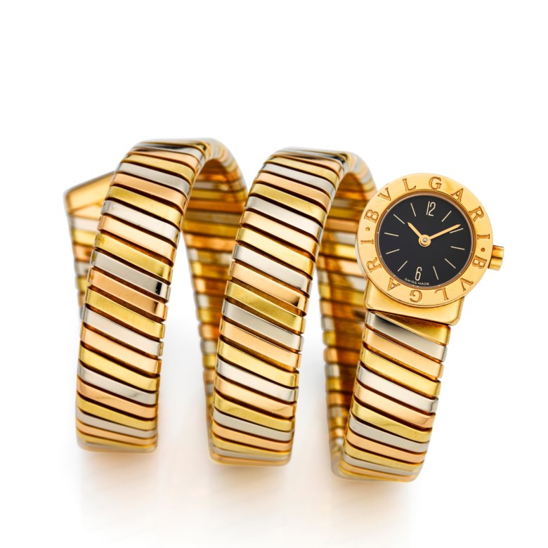 Bulgari, ladies 18k three-tone Serpenti, Ref. BB 19 1T. Case diameter 19 mm. Estimate $8,000-12,000. This lot is offered in  Christie's Watches Online The Keystone Collection, 30 July to 13 August 2019, Online
