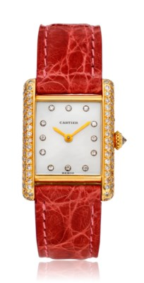 CARTIER, LADIES 18K AND DIAMOND TANK