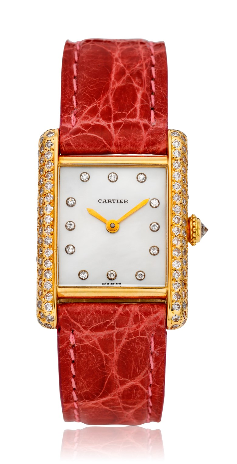 Cartier, ladies 18k and diamond tank. Case diameter 28 x 21 mm. Estimate $3,000-5,000. This lot is offered in  Christie's Watches Online The Keystone Collection, 30 July to 13 August 2019, Online