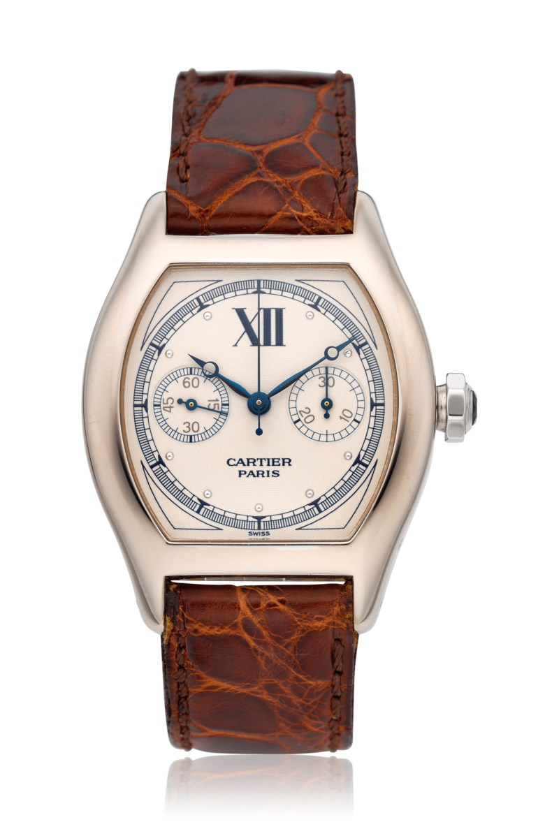 Cartier, 18k Tortue monopusher chronograph, ref. 2396. Estimate $10,000-15,000. Offered in Christie's Watches Online The Keystone Collection, 30 July to 13 August 2019, Online