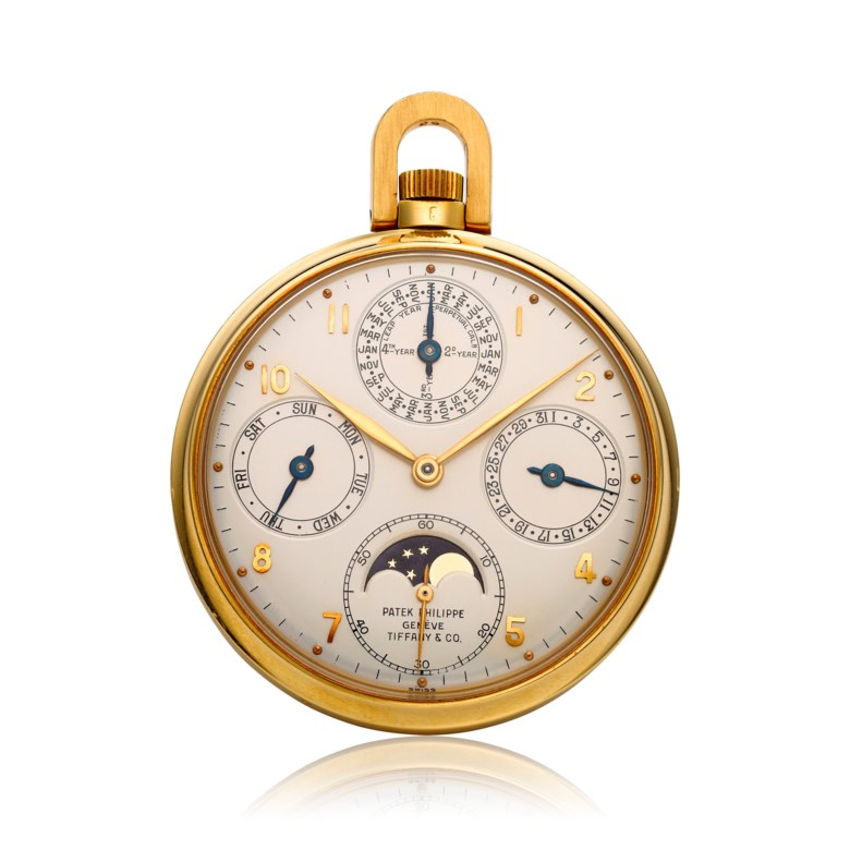 Patek Philippe, 'Tiffany & Co.' 18k perpetual calendar open-face pocket watch, ref. 7252. Estimate $75,000-100,000. Offered in Christie's Watches Online The Keystone Collection, 30 July to 13 August 2019, Online