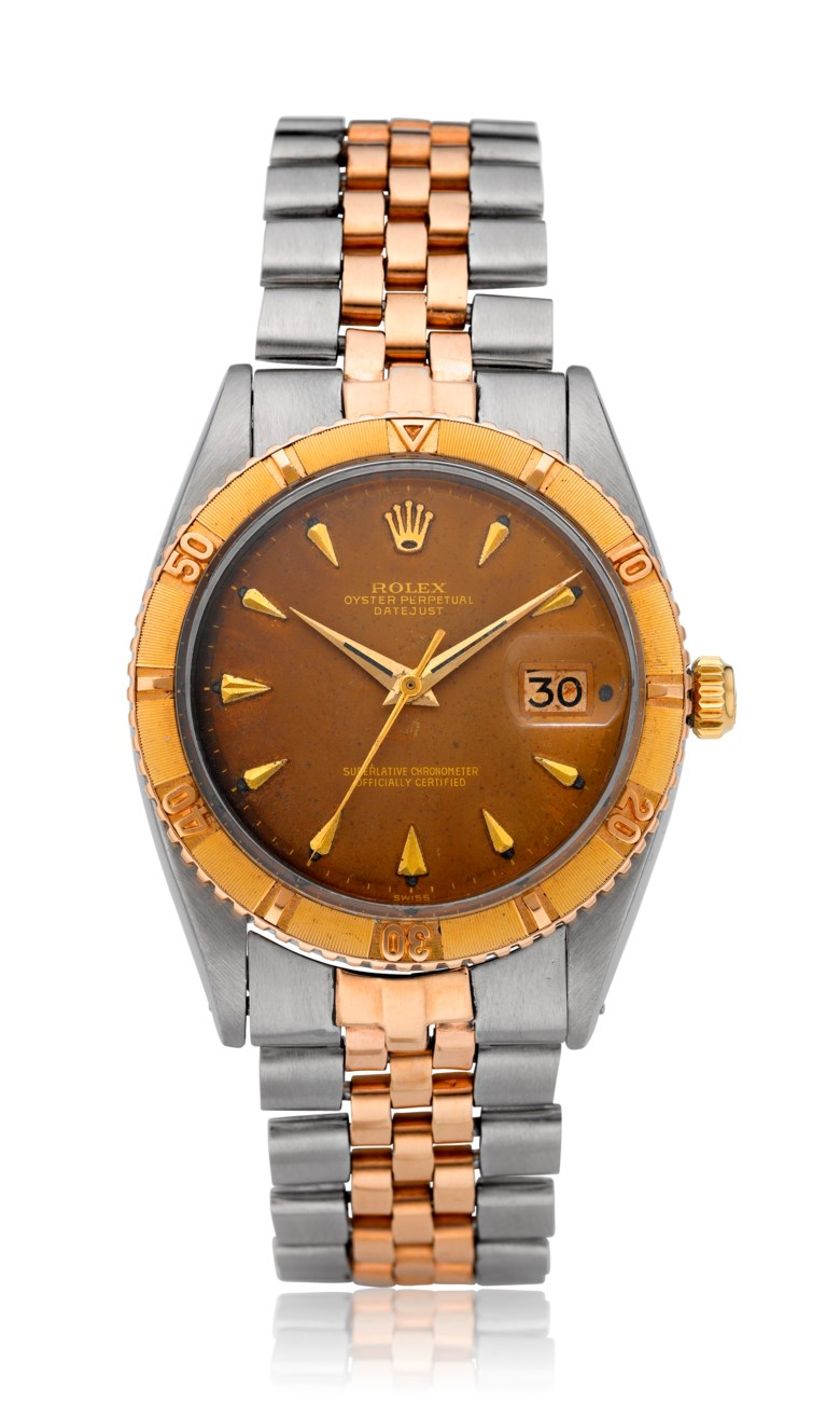 Rolex, two-tone Datejust 'tropical', ref. 1625. Estimate $3,000-5,000. Offered in  Christie's Watches Online The Keystone Collection, 30 July to 13 August 2019, online