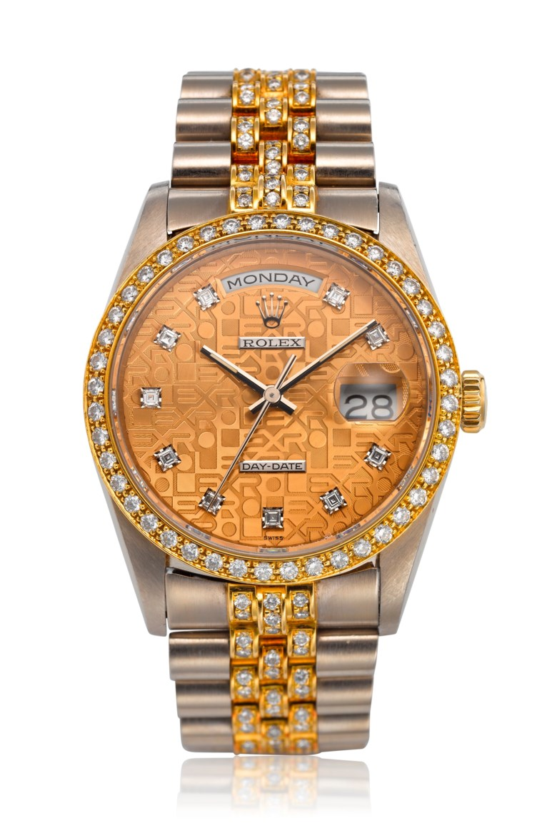 Rolex, 18k two-tone and diamond day-date, ref. 18349. Bracelet size 5.9 inches  150mm. Sold for $23,750 on 13 Aug 2019, Online