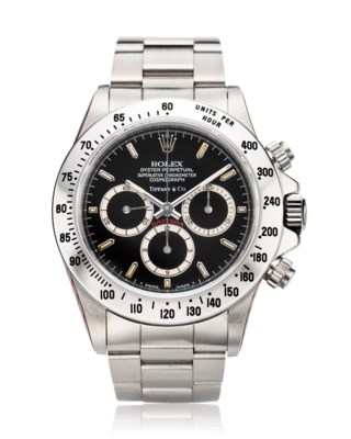 ROLEX, A VERY RARE STAINLESS STEEL AUTOMATIC CHRONOGRAPH WRISTWATCH RETAILED BY TIFFANY & CO, REF. 16520