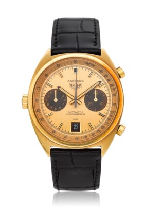 HEUER, A 18K YELLOW GOLD CHRONOGRAPH WRISTWATCH WITH DATE, R