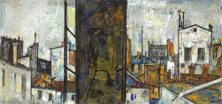 Sayed Haider Raza (1922-2016), Untitled (Cityscape), executed in 1956. 19½ x 41½  in (49.3 x 105.4  cm). Estimate $350,000-500,000. Offered in South Asian Modern + Contemporary Art  on 11 September 2019 at Christie's in New York