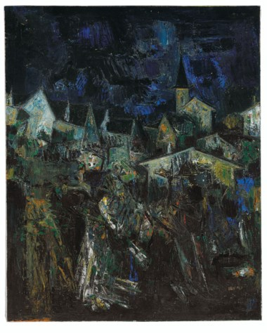 Sayed Haider Raza (1922-2016), Untitled (Village dans la Nuit), painted in 1957. Oil on canvas. 39¼ x 31¾  in (99.7 x 80.7  cm). Estimate $250,000-350,000. Offered in South Asian Modern + Contemporary Art  on 11 September 2019 at Christie's in New York