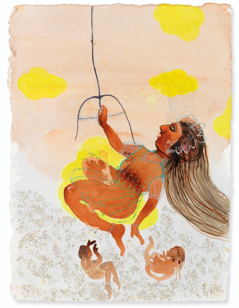 Rina Banerjee (b. 1963), Swing swing she was her Swamy's sunshine while moo specks, flakes and frost flirted with her shape. The others not those who had fallen out of grace because of unfortunate race missed her but stayed though out of her way, executed in 2011. Acrylic, ink, and mica flakes on paper. 15 x 11  in (38.1 x 27.9  cm). Estimate $6,000-8,000. Offered in South Asian Modern +