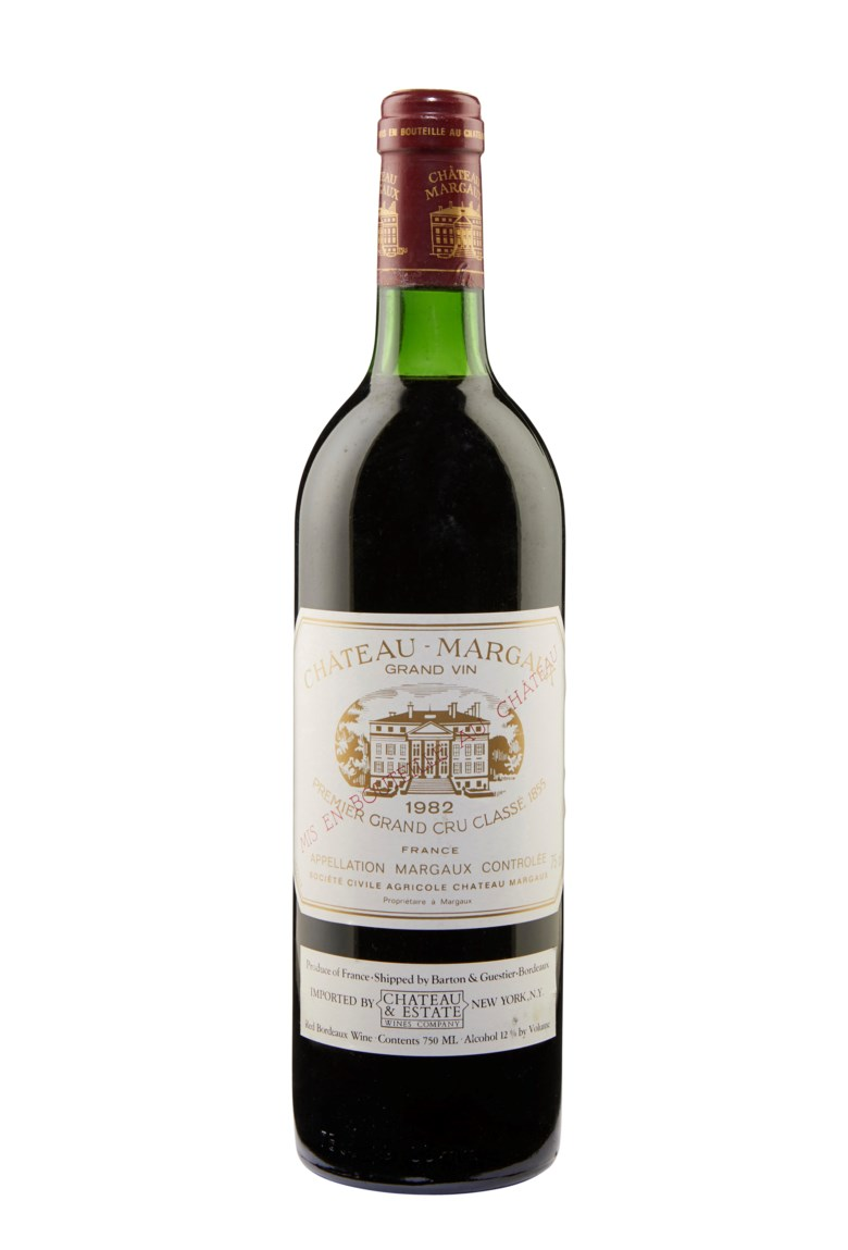 Château Margaux 1982, Margaux, 1er cru classé. Estimate $5,000-7,000. This lot is offered in  Christies Wine OnlineNYC, 16-30 July 2019, Online