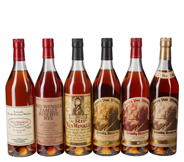 Mixed Pappy, Old Rip Van Winkle, 6 bottles ranging from 10 Year to 23 Year. Estimate $5,000-7,000. Offered in  Christie's Wine OnlineNYC , 16-30 July 2019, Online