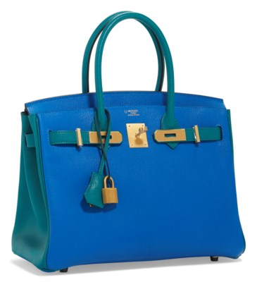 A CUSTOM BLEU HYDRA & BLEU PAON CHEVRE LEATHER BIRKIN 30 WITH BRUSHED GOLD HARDWARE