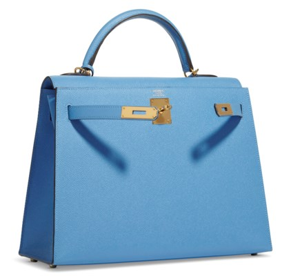 A BLEU PARADIS EPSOM LEATHER SELLIER KELLY 32 WITH GOLD HARDWARE