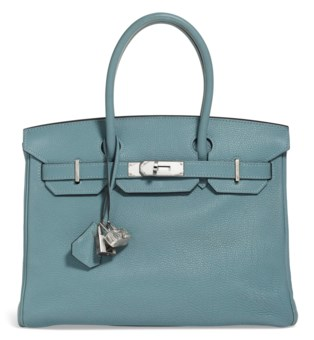 72e8bd9859892 A CIEL TOGO LEATHER BIRKIN 30 WITH PALLADIUM.