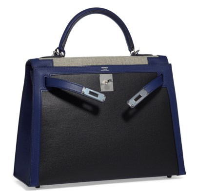 A LIMITED EDITION BLEU SAPHIR SWIFT LEATHER & TOILE BERLINE SELLIER KELLY 32 WITH PALLADIUM HARDWARE