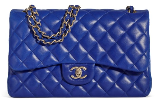 28fc0562194 A BRIGHT BLUE LAMBSKIN LEATHER JUMBO DOUBLE FLAP... CHANEL ...