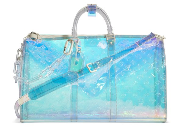 A MONOGRAM PVC PRISM BANDOULIERE KEEPALL 50 WITH LUCITE HARDWARE BY VIRGIL ABLOH