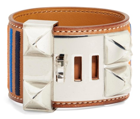 A NATUREL BARÉNIA LEATHER ROCABAR COLLIER DE CHIEN BRACELET WITH PALLADIUM HARDWARE