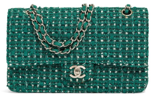 37f1f64314f A GREEN TWEED MEDIUM DOUBLE FLAP BAG WITH SILVER... CHANEL ...