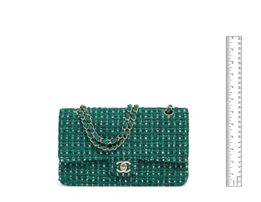 A GREEN TWEED MEDIUM DOUBLE FLAP BAG WITH SILVER HARDWARE