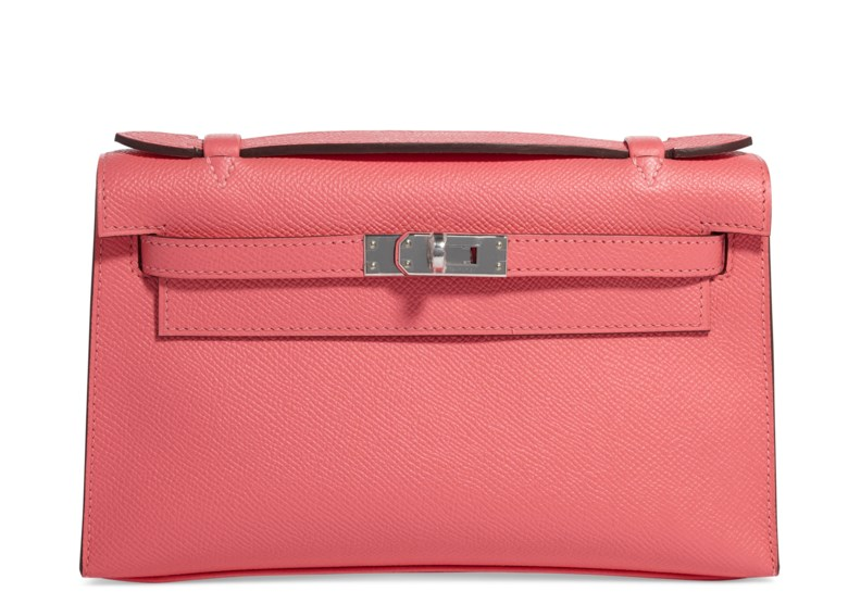 A rose azalée epsom leather Kelly Pochette with palladium hardware, Hermès, 2017. 22 w x 13 h x 6 d cm. Sold for $27,500, 28 May-14 Jun 2019, Online