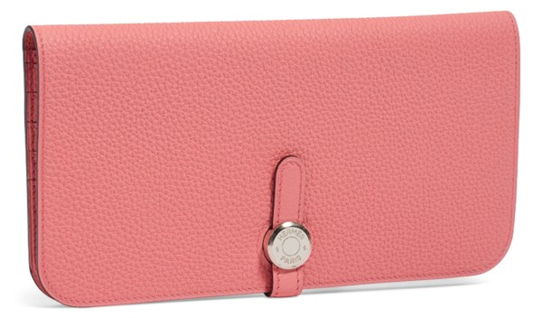 A ROSE CONFETTI CLÉMENCE LEATHER DOGON WALLET WITH PALLADIUM HARDWARE